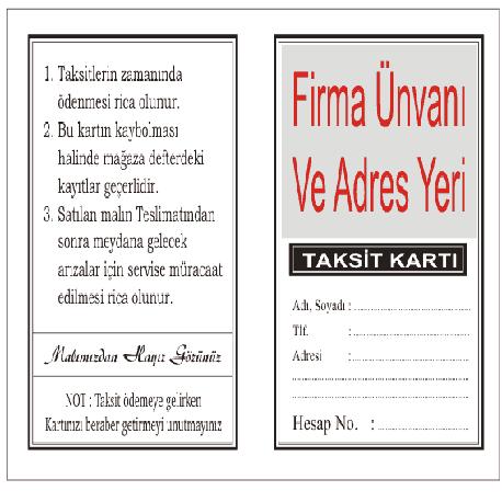 ÖN RENKLİ PARLAK SELEFONLU ARKASI TEK RENK SİYAH BASKILI 5x16TAKSİT KARTI